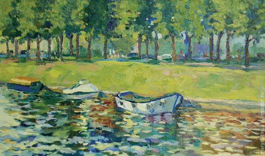 Пейзаж ручной работы. Ярмарка Мастеров - ручная работа. Купить Лодки. Handmade. Лодки, картина, пейзаж, реки и каналы, лето