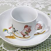 Винтаж ручной работы. Ярмарка Мастеров - ручная работа Веселая посуда для малыша, Decote Qualitäts Porzellan. Handmade.