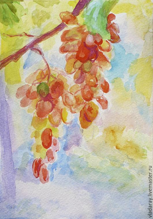 Акварель `Радужный виноград`. Доставка по всему миру авиа почтой бесплатно.  Картина - красивый подарок на день рождения, свадьбу, юбилей, Рождество, Новый Год. Подарок для девушки, женщины.