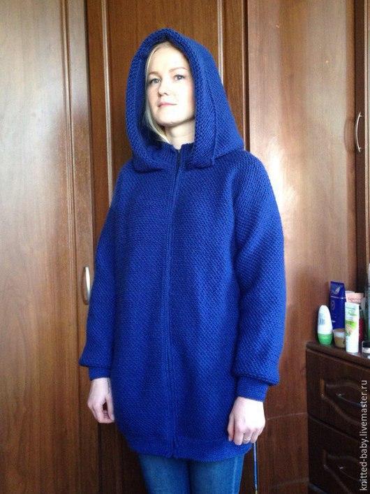Кофты и свитера ручной работы. Ярмарка Мастеров - ручная работа. Купить Кардиган женский вязаный Синий туман. Handmade.