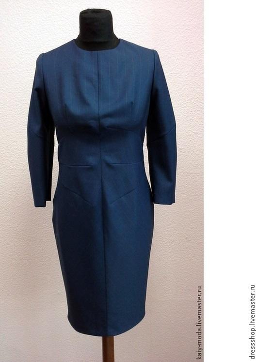 """Платья ручной работы. Ярмарка Мастеров - ручная работа. Купить Деловое платье - """"Полосатое"""". Handmade. Тёмно-синий"""