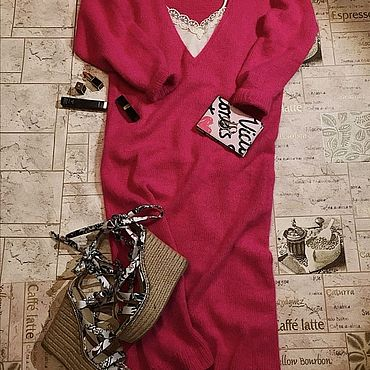 Одежда ручной работы. Ярмарка Мастеров - ручная работа Вязаное платье из ангоры. Handmade.