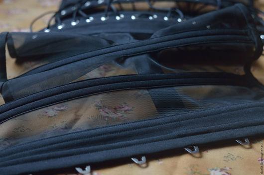 Корсеты ручной работы. Ярмарка Мастеров - ручная работа. Купить Прозрачный корсет с застежкой -бюск. Handmade. Черный, корсет из сетки