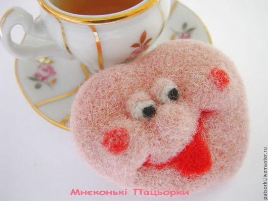 """Броши ручной работы. Ярмарка Мастеров - ручная работа. Купить Брошь """"Завтрак с любовью"""". Handmade. Розовый, брошь, игрушка из шерсти"""