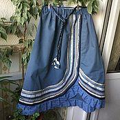 Одежда ручной работы. Ярмарка Мастеров - ручная работа Юбка бохо стиль голубая волна. Handmade.