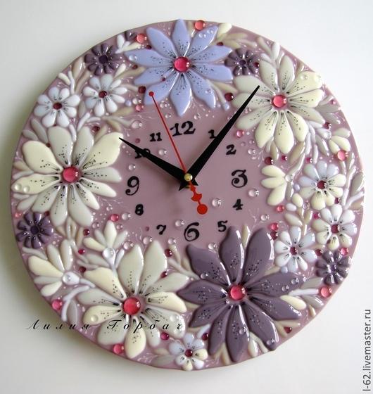 Часы для дома ручной работы. Ярмарка Мастеров - ручная работа. Купить часы из стекла, фьюзинг  Пыльный цвет. Handmade. Сиреневый
