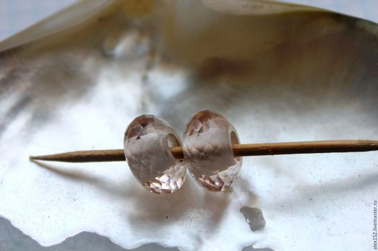Для украшений ручной работы. Ярмарка Мастеров - ручная работа. Купить Бусина в стиле  Пандора натуральный  розовый кварц 14 х 8 отв 4.5 мм. Handmade.