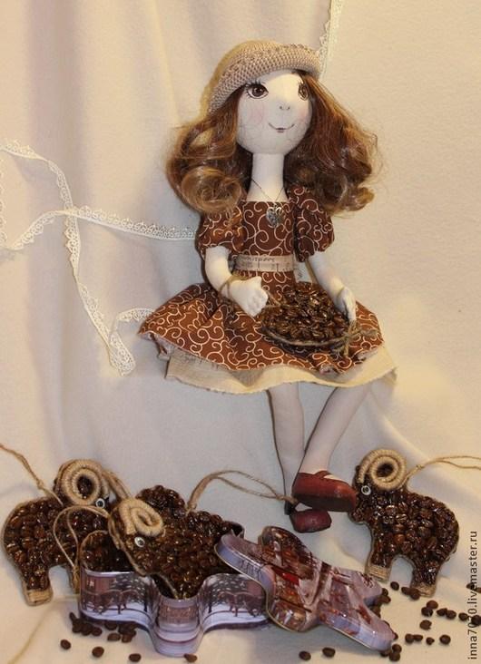 Коллекционные куклы ручной работы. Ярмарка Мастеров - ручная работа. Купить Кофейница. Handmade. Коричневый, кукла интерьерная, подарок