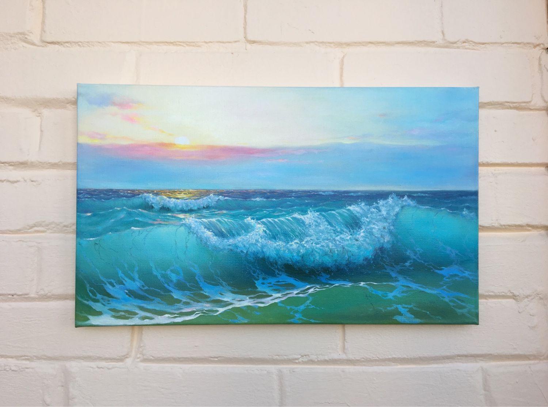 Пейзаж ручной работы. Ярмарка Мастеров - ручная работа. Купить Картина маслом «Закат на море 3». Handmade. Картина в подарок