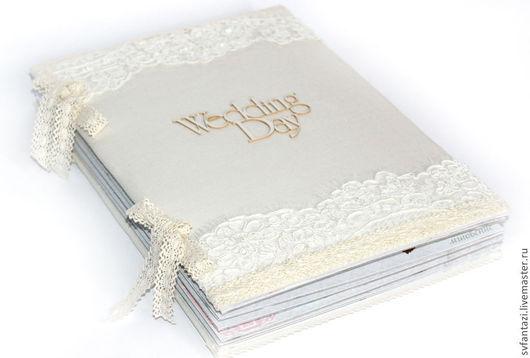 """Свадебные фотоальбомы ручной работы. Ярмарка Мастеров - ручная работа. Купить Свадебный скрапальбом """"Wedding Day"""". Handmade. Бежевый"""