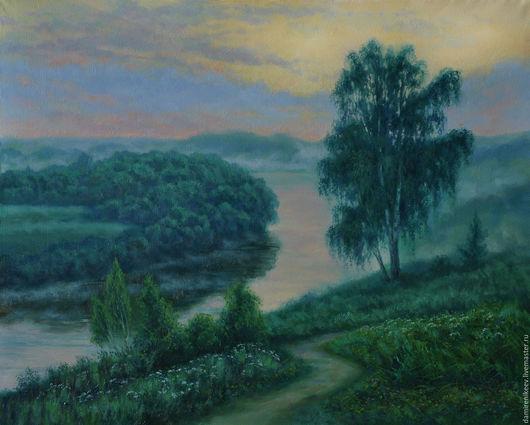 """Пейзаж ручной работы. Ярмарка Мастеров - ручная работа. Купить Картина маслом на холсте """"Рассвет над рекой """". Handmade."""