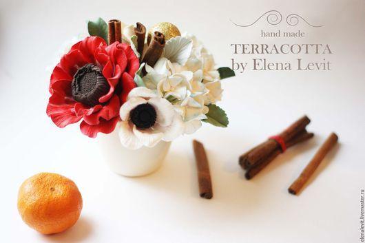 Новогодняя композиция из полимерной глины. Terracotta by Elena Levit.