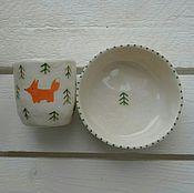 """Посуда ручной работы. Ярмарка Мастеров - ручная работа Новогодний SALE! набор """"Лиса в лесу"""". Керамика. Handmade."""
