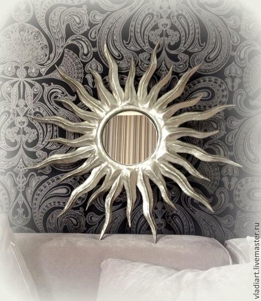 """Зеркала ручной работы. Ярмарка Мастеров - ручная работа. Купить Зеркало солнце """"Звезда по имени Солнце"""". Handmade. Серебряный, краска"""