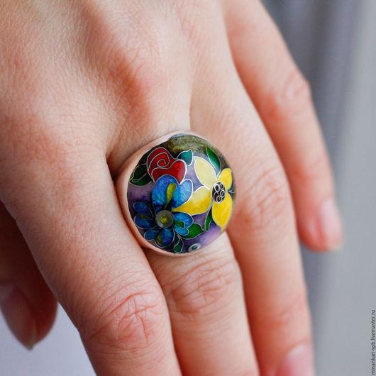 """Кольца ручной работы. Ярмарка Мастеров - ручная работа. Купить Кольцо """"Три цветка"""" из серебра с эмалью. Минанкари. Handmade. Минанкари"""
