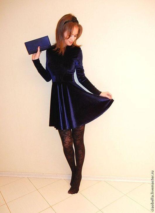 """Платья ручной работы. Ярмарка Мастеров - ручная работа. Купить Бархатное платье """"Ireni"""". Handmade. Тёмно-синий, Новый Год"""