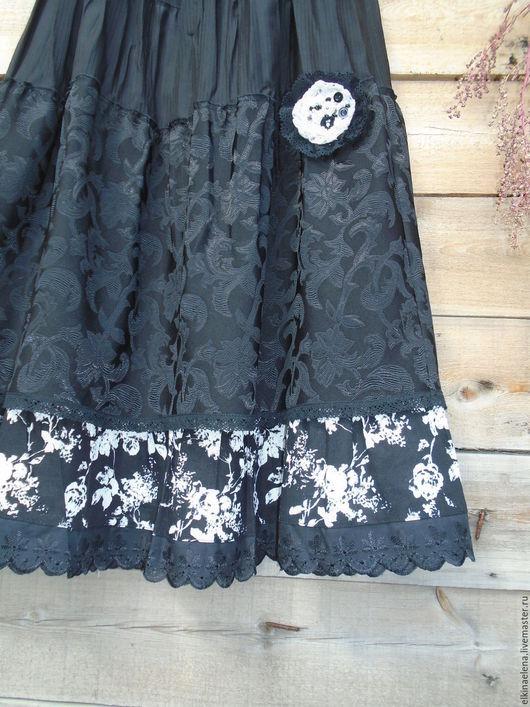 Юбки ручной работы. Ярмарка Мастеров - ручная работа. Купить Черно-белые цветы(Два в одном) - оригинальная юбка. Handmade. Черный