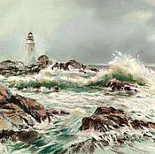 Картины и панно handmade. Livemaster - original item Pastel painting lighthouse winter (gray-green seascape gift). Handmade.