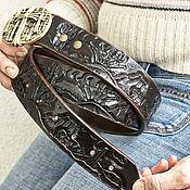 Аксессуары handmade. Livemaster - original item Black leather belt handmade. Handmade.