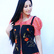 Одежда handmade. Livemaster - original item Exclusive set of dress and vest with embroidery