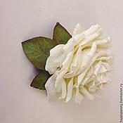 Украшения ручной работы. Ярмарка Мастеров - ручная работа Заколка брошь Белая роза.. Handmade.