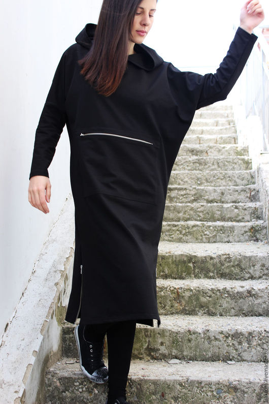"""Верхняя одежда ручной работы. Ярмарка Мастеров - ручная работа. Купить Спортивное пальто """" Zippers & Hood Black""""  B0031. Handmade."""