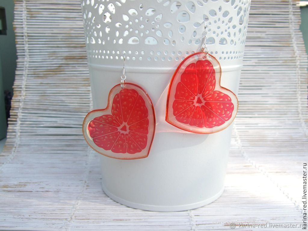 Transparent Earrings Juicy Orange Hearts, Earrings, Taganrog,  Фото №1