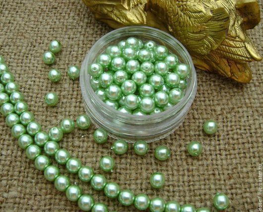 Для украшений ручной работы. Ярмарка Мастеров - ручная работа. Купить 6 мм Чешские жемчужные круглые бусины,цвет Светло (Нежно)- Зеленый. Handmade.