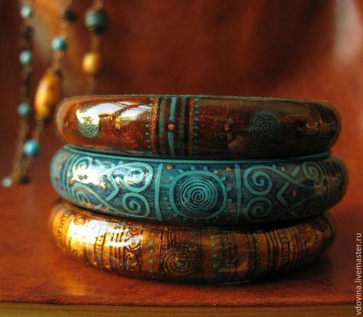 Браслеты ручной работы. Ярмарка Мастеров - ручная работа. Купить Браслеты Путь в Индию. Handmade. Комплект браслетов, Роспись по дереву