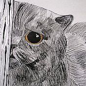 Картины и панно ручной работы. Ярмарка Мастеров - ручная работа Рисунки животных тушью. Handmade.