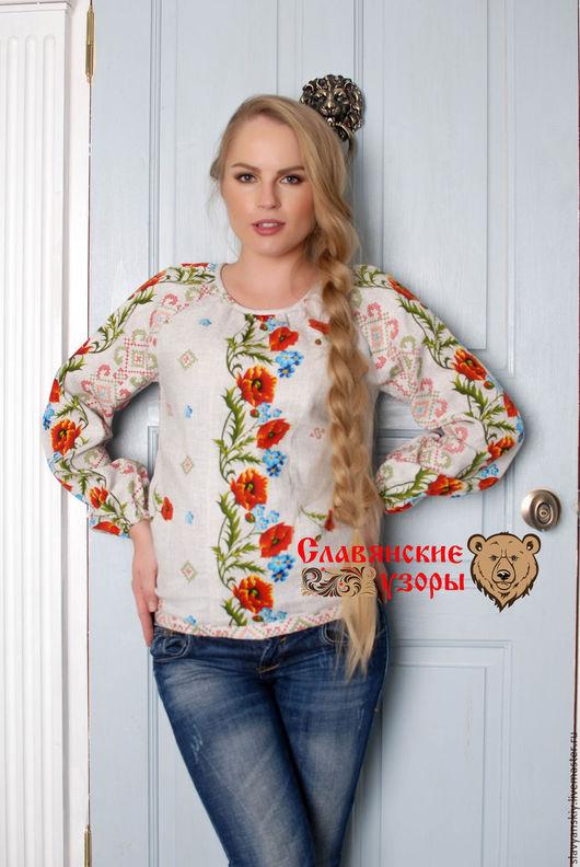 """Блузки ручной работы. Ярмарка Мастеров - ручная работа. Купить Блуза """"Маковая"""". Handmade. Комбинированный, Блуза летняя, летняя, принт"""