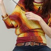 """Одежда handmade. Livemaster - original item Оранжевая женская кофта вязаная """"Асимметрия"""". Handmade."""