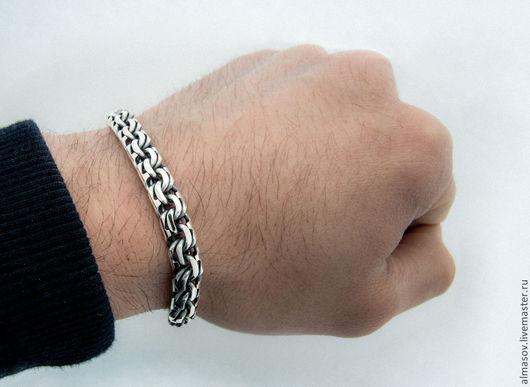 Серебряный браслет бисмарк шириной 8.5 мм.