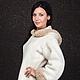 Куртка женская `Юта`.  Авторская модель, коллекция 2014 года. Lorraine Woolheart.  Состав: шерсть меринос 95%, акрил 5%. Италия. Подкладка: синтепон Цвет: молочный с бежевым