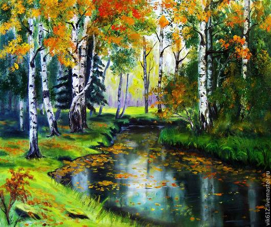 Пейзаж ручной работы. Ярмарка Мастеров - ручная работа. Купить Осень в лесу. Handmade. Картина, пейзаж маслом, осенние краски