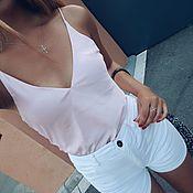 Одежда ручной работы. Ярмарка Мастеров - ручная работа Розовый шелковый топ. Handmade.