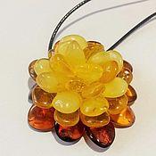 Украшения handmade. Livemaster - original item Amber flower pendant brooch for woman girl gift yellow cognac. Handmade.