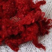 "Украшения ручной работы. Ярмарка Мастеров - ручная работа Валяная брошь ""Кружевная красная"". Handmade."
