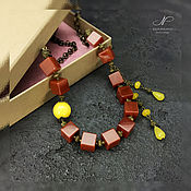 Украшения handmade. Livemaster - original item Necklace Accent of carnelian and jade. Handmade.