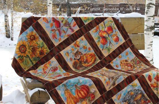 """Текстиль, ковры ручной работы. Ярмарка Мастеров - ручная работа. Купить Плед """"В объятиях Осени"""". Handmade. Оранжевый, коты"""