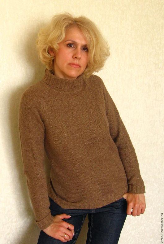 Кофты и свитера ручной работы. Ярмарка Мастеров - ручная работа. Купить Твидовая водолазка из кашемира с шелком и мериносом. Handmade. Бежевый