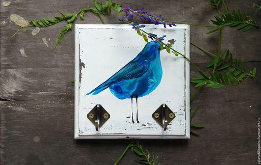 """Кухня ручной работы. Ярмарка Мастеров - ручная работа. Купить Вешалка """"Голубой попугайчик"""". Handmade. Синий, попугай, ключница"""
