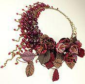 Украшения handmade. Livemaster - original item Cherry Parfait. Necklace, earrings, flowers. Handmade.