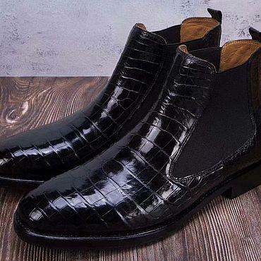 Обувь ручной работы. Ярмарка Мастеров - ручная работа Полусапожки челси, из кожи крокодила, премиум класса, в чёрном цвете.. Handmade.