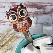 Ложки ручной работы. Ярмарка Мастеров - ручная работа Совушка. Ложечка с декором из полимерной глины. Handmade.