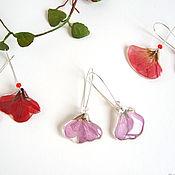 Украшения handmade. Livemaster - original item Earrings with Red Lilac Flower Petals Herbarium Eco Jewelry. Handmade.