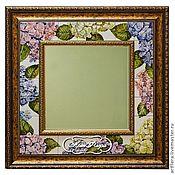 Для дома и интерьера handmade. Livemaster - original item Mirror Hydrangeas Painting ceramic Painting tile. Handmade.