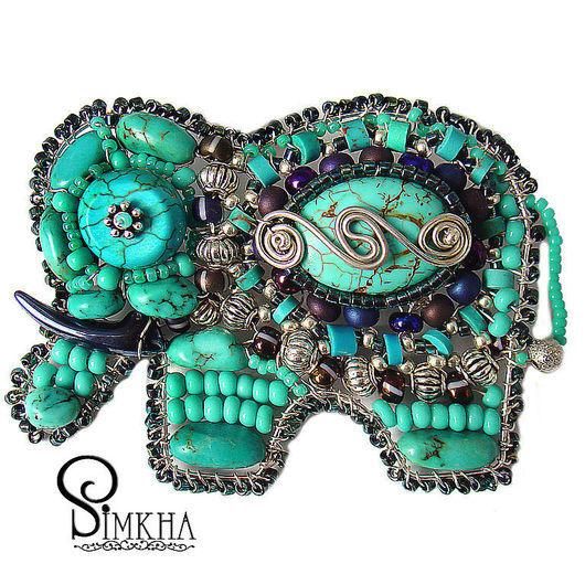 Brooches handmade. Livemaster - handmade. Buy Brooch 'Elephant' No. №8 Turquoise.Summer 2011, metal