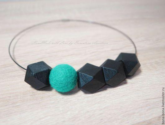 """Колье, бусы ручной работы. Ярмарка Мастеров - ручная работа. Купить Колье с крупными  бусинами """"Black emerald"""". Handmade. Черный"""