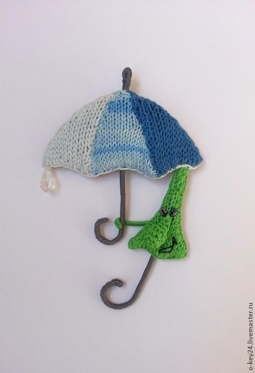 """Броши ручной работы. Ярмарка Мастеров - ручная работа. Купить Брошь """" Зонтик под зонтом"""", вязаная брошка.. Handmade."""